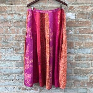 Banana Republic Pink Orange Boho Silk Maxi Skirt